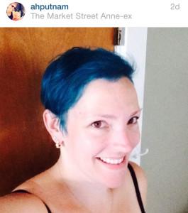 blue hair selfie