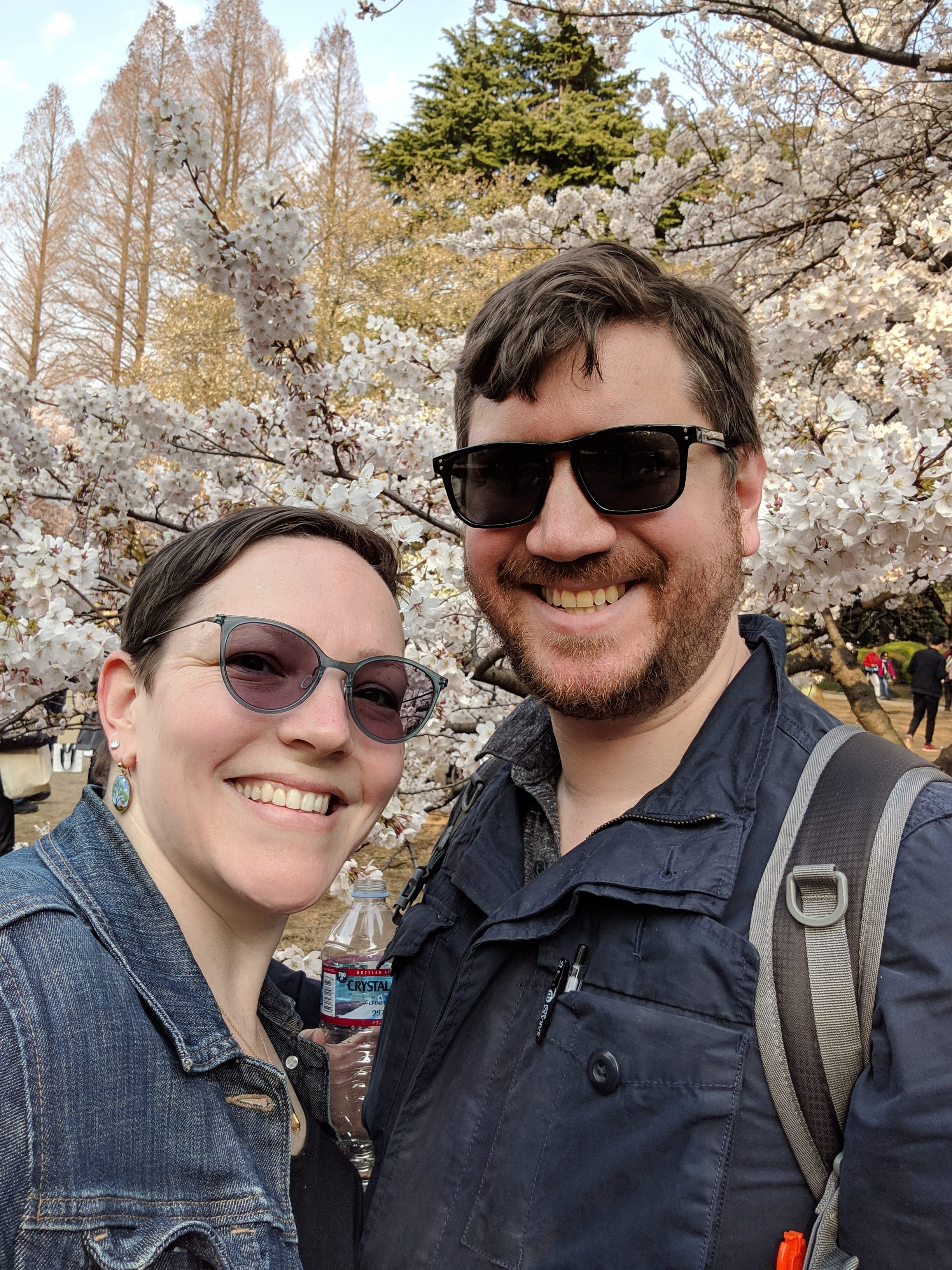 Anne and Scott in Tokyo with cherry blossoms